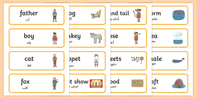 Pinocchio Word Cards Arabic Translation - arabic, pinocchio
