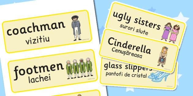 Cinderella Word Cards Romanian Translation - romanian, cinderella