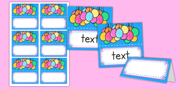 Editable Birthday Place Name Labels