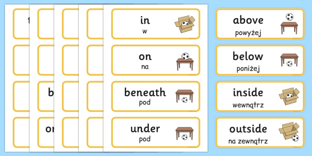 Positional Vocabulary cards Polish Translation - polish, Position, Positional, Positional Language, Position Words, up, down, inside, outside, next to, North, South, East, West