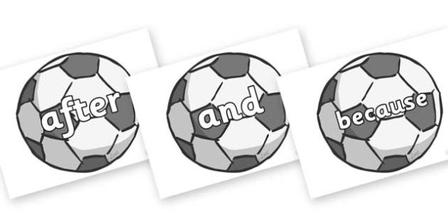 Connectives on Footballs - Connectives, VCOP, connective resources, connectives display words, connective displays