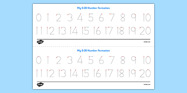 Number Formation Tracing Strips 0 20 Number Formation