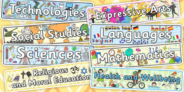 Curriculum for Excellence Subject Labels - curriculum, excellence, subject, labels