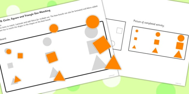 Workstation Pack Shape Size Matching Activities - teacch