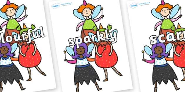 Wow Words on Good Fairies - Wow words, adjectives, VCOP, describing, Wow, display, poster, wow display, tasty, scary, ugly, beautiful, colourful sharp, bouncy