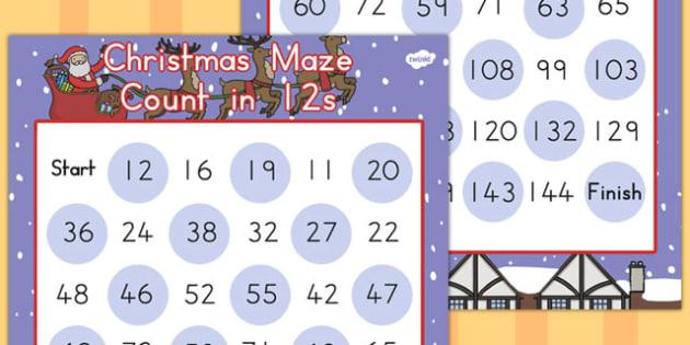 Christmas Maze Counting in 12s - australia, christmas, maze, math