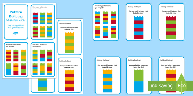 Building Brick Pattern Challenge Cards - bricks, toy, patterns, game, cards