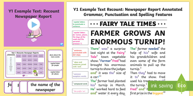 Y1 Recounts: Newspaper Report Example Text - Example Texts Y1