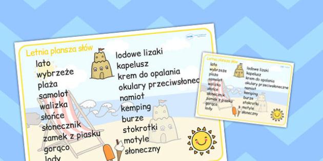 Plansza ze slownictwem Lato po polsku - do pobrania, edukacja , Polish