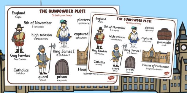 The Gunpowder Plot Word Mat Polish Translation - polish, gunpowder