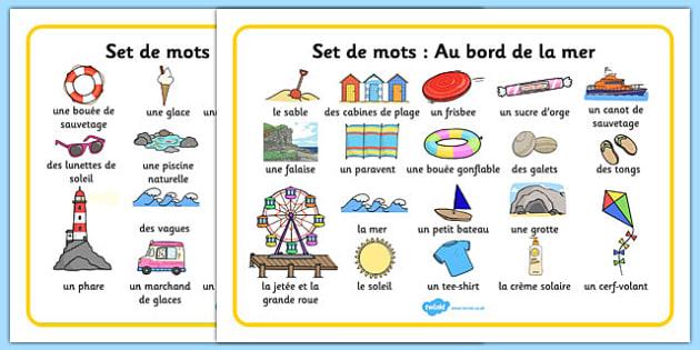 Set de mots: Au bord de la mer Seaside Word Mat French - french, Writing aid, Under the sea, sea, seaside, topic, water, tide, waves, sand, beach, sea, sun, holiday, coast