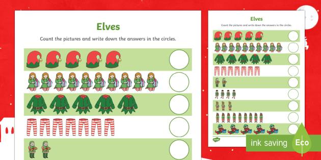 Elf Themed Counting Worksheet / Activity Sheet -  counting, elves, elf, christmas, eyfs, ks1, maths