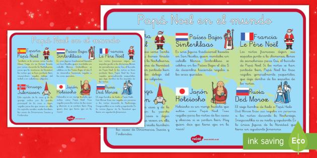 Hoja informativa: Papá Noel en el mundo - otras culturas, otros paises, tradiciones, navidad por el mundo, navideño - otras culturas, otros paises, tradiciones, navidad por el mundo, navideño