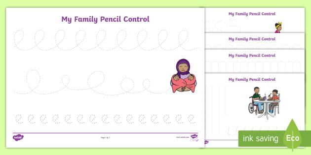 My Family Pencil Control Worksheet / Activity Sheets - worksheets, fine motor, pre-writing, kindergarten, preschool, nursery, reception, pre-primary, prep,