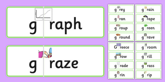 GR Jigsaws - speech sounds, phonology, articulation, speech therapy, cluster reduction, clusters, blends