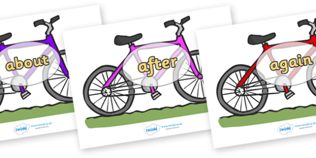 KS1 Keywords on Bicycles - KS1, CLL, Communication language and literacy, Display, Key words, high frequency words, foundation stage literacy, DfES Letters and Sounds, Letters and Sounds, spelling