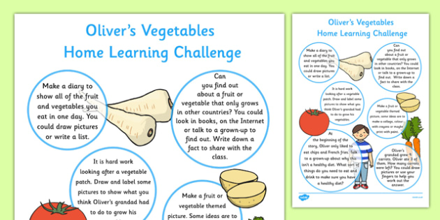 Home Learning Challenge to Support teaching on Oliver's Vegetables Sheet Reception FS2
