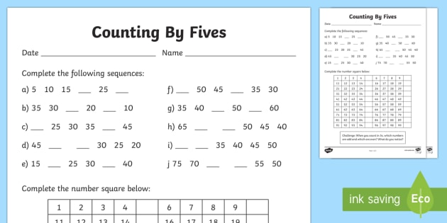 Counting By 5s Worksheet Activity Sheet F 2 Skip Counting