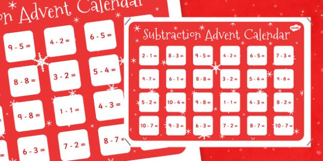 Advent Calendar Ideas Eyfs : Subtraction to advent calendar