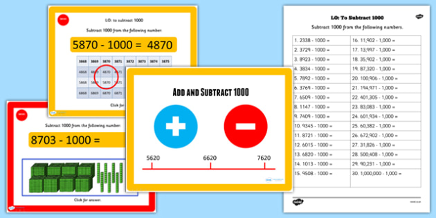 Add or Subtract 1000 Lessons 3 and 4 Teaching Pack - numeracy