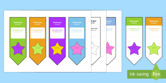 Editable Thank You Bookmarks English/Polish -  bookmark template,  gift,  present, book, reward, achievement, tempelte, editble, templet, edidable