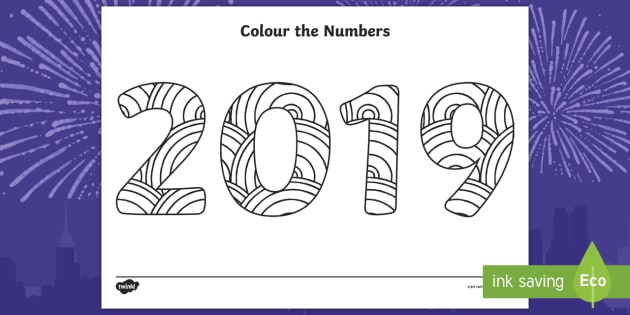 new colour the numbers new year 2019 mindfulness colouring page numerals digits
