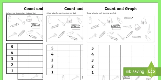 Back to School Themed Count and Graph Activity Sheet - Back to School Australia, back to school maths, back to school, back to school worksheet, back to sc