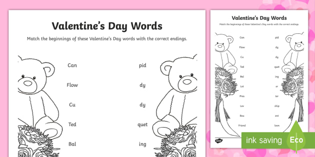 Valentine S Day Words Activity Valentine S Day Valentines