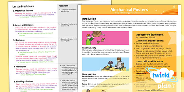 D&T: Mechanical Posters LKS2 Planning Overview