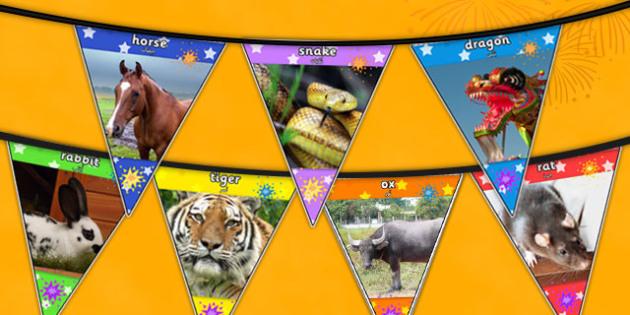 Chinese New Year Animal Photo Bunting Arabic Translation - arabic, chinese new year, animal, photo, bunting, display