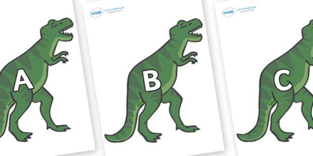 A-Z Alphabet on T-Rex - A-Z, A4, display, Alphabet frieze, Display letters, Letter posters, A-Z letters, Alphabet flashcards