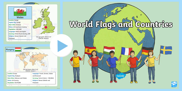 word flags and countries information powerpoint world flags