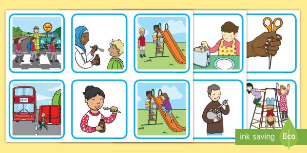 Safe Or Unsafe Sorting Cards Keeping Safe Unsafe Health