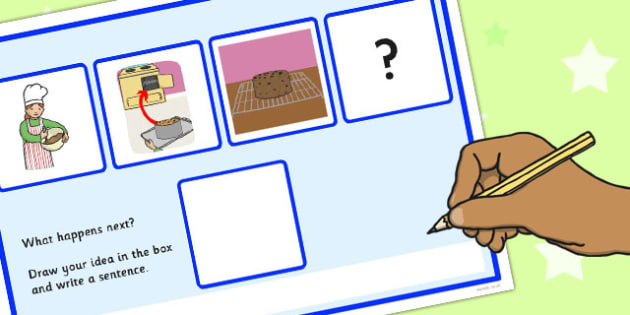 What Happens Next? Fill in the Bank Worksheet for 'Making a Cake' - happens, next, making, cake
