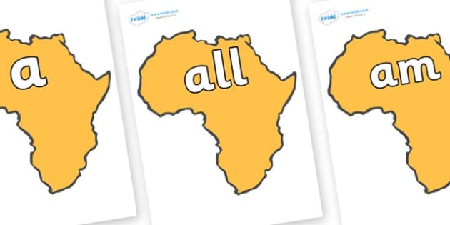 Foundation Stage 2 Keywords on Africa - FS2, CLL, keywords, Communication language and literacy,  Display, Key words, high frequency words, foundation stage literacy, DfES Letters and Sounds, Letters and Sounds, spelling