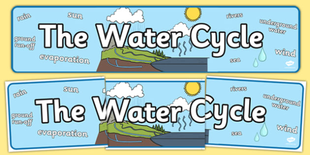 The Water Cycle Display Banner - Water Cycle, water, display, sign, poster, cycle of water,  cloud, rain, lake, precipitation