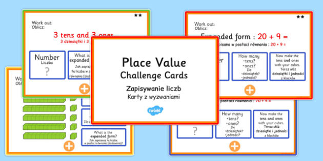 Place Value Maths Challenge Cards Polish Translation - polish, place value, maths, challenge, cards