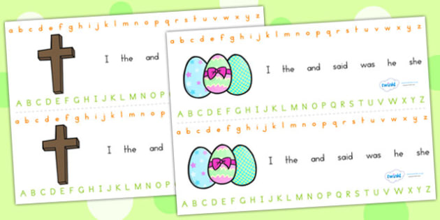 Easter Alphabet Strips - easter, alphabet, a-z, visual aid, RE
