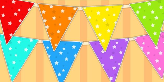 Star Pattern Display Bunting - star, bunting, flags, display