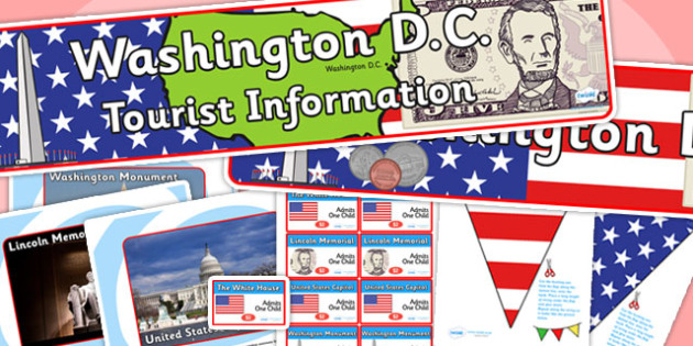 Washington DC Tourist Information Office Role Play Pack-washington DC, tourist information, tourist, role play, role play pack, tourist pack