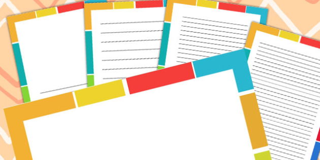 Coloured Pattern Page Borders - patterns, writing aid, write