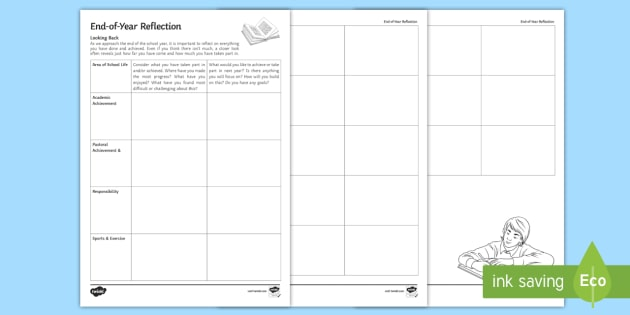 End Of Year Reflection Worksheet Activity Sheet Reflections