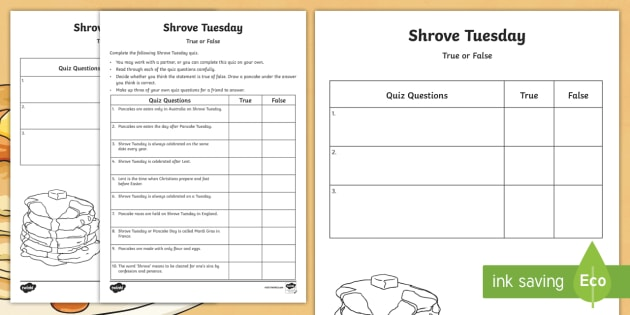 shrove tuesday true or false quiz worksheet activity sheet