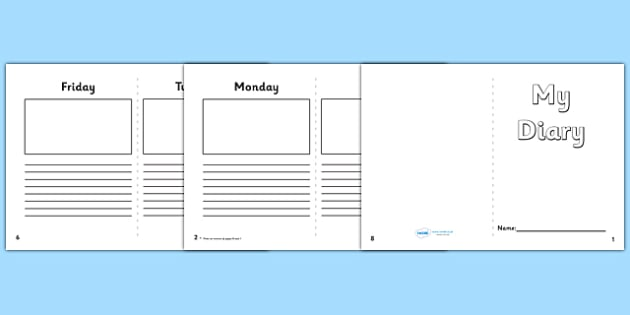 5 day diary writing frame esl diary template