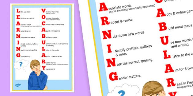 Apprendre le vocabulaire - Poster pour la salle de classe - french, vocabulary, learning, poster, display, skills, apprendre, classroom