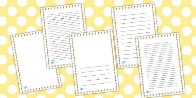 Smiley Pencil Portrait Page Borders - smiley, pencil, page border