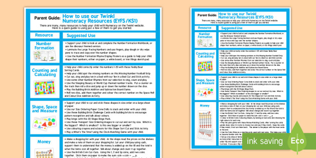 Maths Resources Guide for Parents - Numbers, Numeracy, Guide
