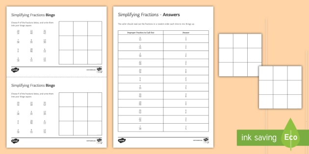 graphic about Fraction Bingo Printable referred to as Simplifying Fractions Bingo - simplifying fractions, fractions