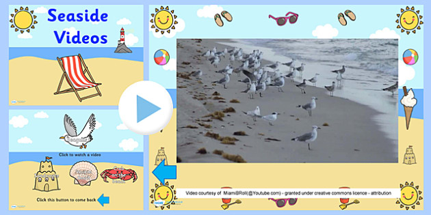 Seaside Video PowerPoint - seaside, the seaside, seaside powerpoint, seaside videos, seagulls video, sandcastle video, beach video, crab video