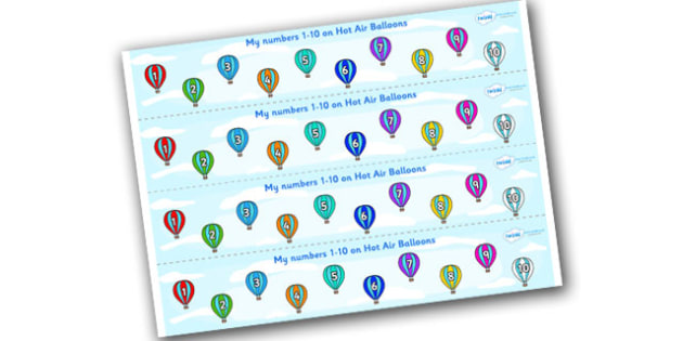 1-10 on Striped Hot Air Balloons Number Strips - Maths, Math, number track, hot air balloon, Numberline, Number line, Counting on, Counting back, counting, space